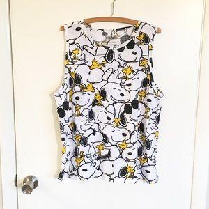 CUTE Snoopy & Woodstock Peanuts Tank Top Shirt L